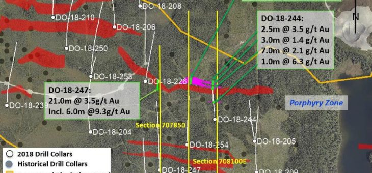 Maple Gold durchteuft mehrere mineralisierte Zonen im östlich-zentralen Bereich des Ressourcengebiets, darunter 21 m mit 3,49 g/t Au und 27,5 m mit 1,25 g/t Au