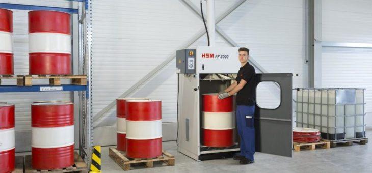 Die Fasspresse HSM FP 3000 ist eine robuste und zuverlässige Entsorgungslösung
