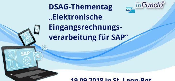 """DSAG-Thementag """"Elektronische Eingangsrechnungsverarbeitung für SAP"""": Die inPuncto GmbH ist als Aussteller dabei"""