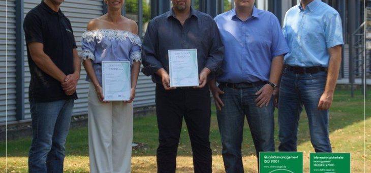 SiteFusion ist zertifiziert nach ISO 9001:2015 und ISO/IEC 27001:2013