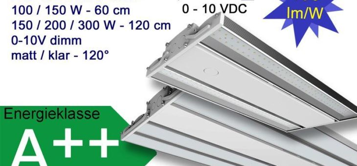 Dimmbare LED Linear Hallenleuchten mit 150 lm/W