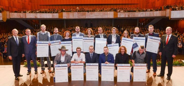 Meisterfeier der Handwerkskammer Mannheim Rhein-Neckar-Odenwald 2018: Das Handwerk beglückwünscht 496 neue Handwerksmeister aus 16 Berufen