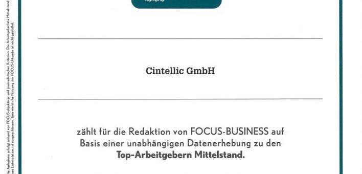 CINTELLIC Consulting Group: Platz 19 bei den Focus TOP-Arbeitgebern 2019