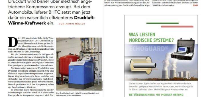 Drucklufterzeugende BHKW-Anlage wird zum BHKW des Monats August gekürt.