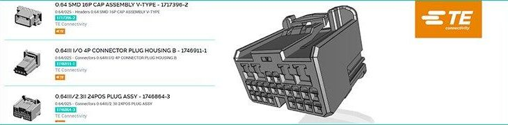 Mehr als 120.000 Produkte von TE Connectivity jetzt über die Bibliothek mit 3D-Dateien von TraceParts verfügbar