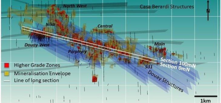 Neues geologisches 3D-Modell hebt mehrere höhergradig vererzte Zonen hervor, die auf dem Projekt Douay nicht bis in größere Tiefe getestet wurden