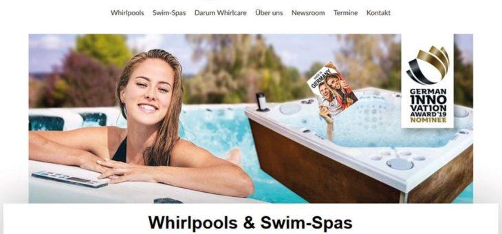 Modernes Design, frischer Content, klare Struktur: die neue Whirlcare-Webseite