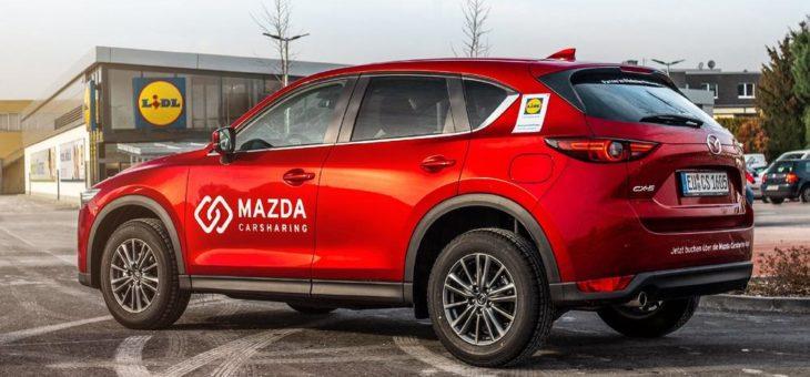 Mazda Carsharing, Partner im Flinkster Netzwerk der Deutschen Bahn, erweitert Angebot: Fahrzeuge an 113 weiteren Lidl-Filialen in 12 Bundesländern