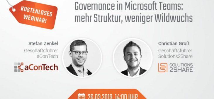 Governance in Microsoft Teams: mehr Struktur und weniger Wildwuchs