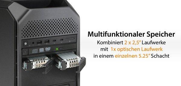 ICY DOCK ToughArmor MB602SPO-B 2 x 2,5″ SAS/SATA SSD/HDD & (Ultra) Slim ODD Wechselrahmen