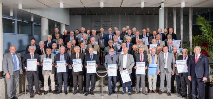 60 Goldene Meister 2019 aus Heidelberg und Umgebung haben vor  50 Jahren die Meisterprüfung absolviert