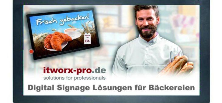 Digital Signage: Traditionelle Bäckerei-Kette installiert weitere Bildschirm Werbesysteme von der itworx-pro GmbH aus Hamburg in den Filialen.