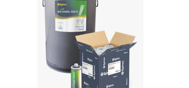 Epiroc Bio-Meißelpaste gehört jetzt zum Lieferumfang aller neuen Hydraulikhämmer