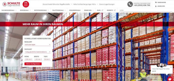 SCHULTE Lagertechnik jetzt mit Online Shop