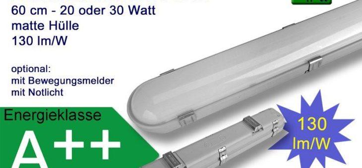 Hochwertige LED Feuchtraumleuchte zur Verwendung in Kühlräumen, Lagerhallen, Fluren, Garagen, Überdachungen, Laderampen uvm