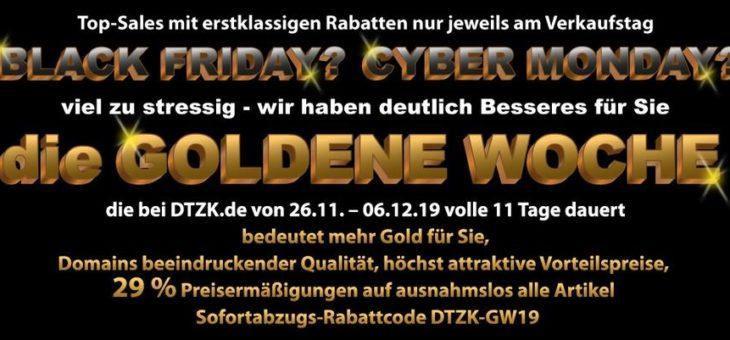 """11 vorteilhafte Tage """"Goldene Woche"""" beim Domainfachhändler DTZK.de"""