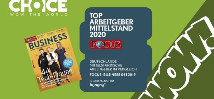 """Erneut ausgezeichnet: Choice ist """"TOP Arbeitgeber Mittelstand 2020"""""""