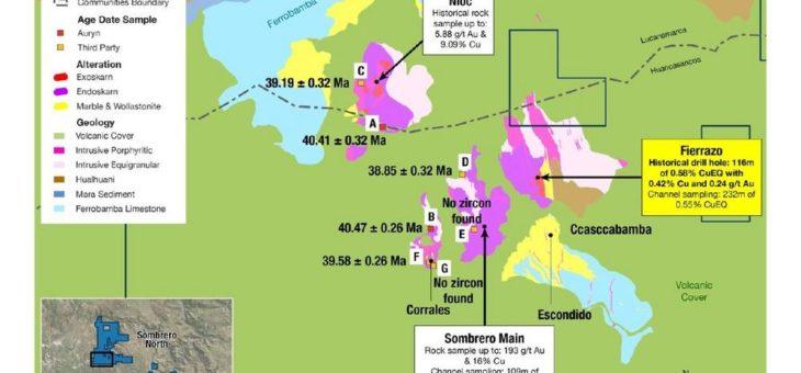 Auryn bestätigt Alter der mineralisierenden Intrusivgesteine im Sombrero-Distrikt – entspricht großen Vorkommen im Andahuaylas-Yauri-Gürtel
