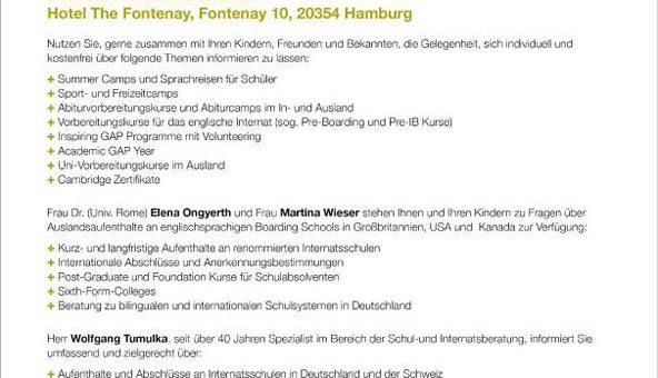 Premiere in Hamburg – größter Beratungstag rund um Schule, Sprachen und Ausland