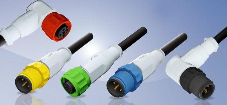 M12x1 Steckverbinder umspritzt mit farbigen Überwurfelementen