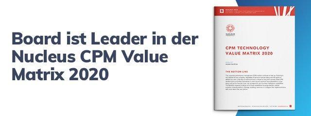Board wird in der CPM Value Matrix 2020 von Nucleus Research als Leader ausgezeichnet