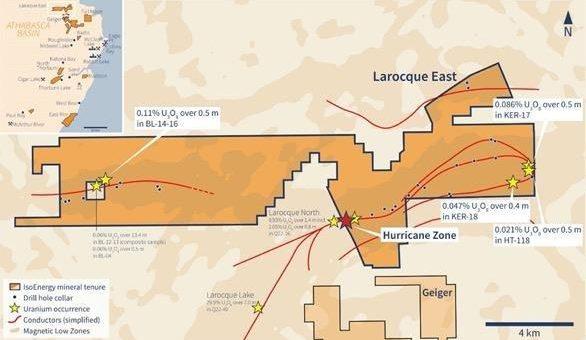 IsoEnergy durchschneidet 4,0 m mit 20,5% U3O8 in Bohrung LE20-40 und erbohrt Uranmineralisierung die ausserhalb der messbaren Skala liegt