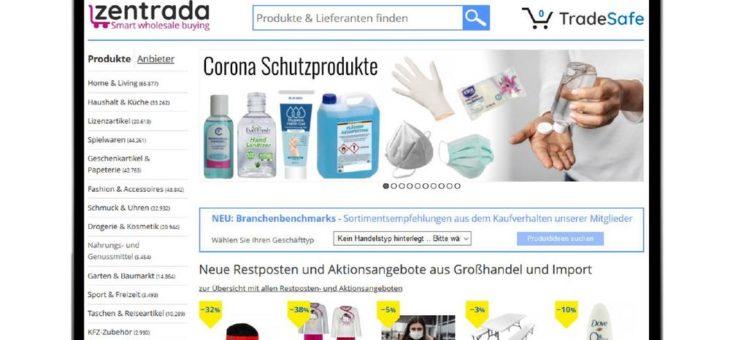 Online Großhandel in Krisenzeiten: zentrada bietet Lieferanten von Corona-Schutzausrüstung kurzfristig digitale Vertriebsplattform