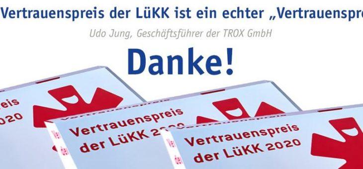 TROX erneut bei den Besten beim Vertrauenspreis der LüKK