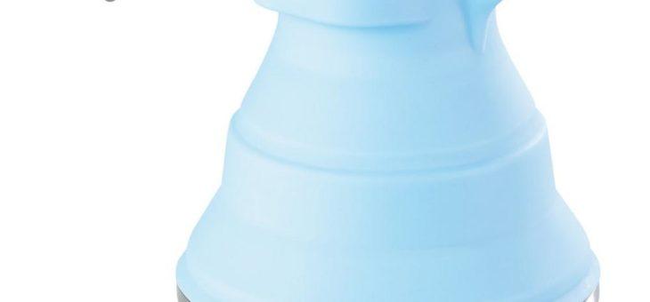 Rosenstein & Söhne Faltbarer Silikon-Camping-Wasserkessel mit Edelstahlboden, 1,5 Liter