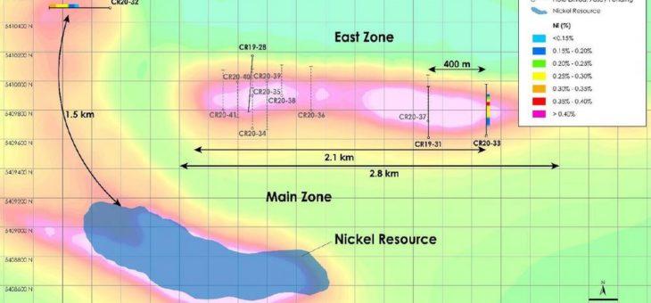 Canada Nickel gibt Erweiterung der Main Zone um 1,5 Kilometer und der East Zone um 400 Meter im Nickel-Kobalt-Palladium-Projekt Crawford bekannt