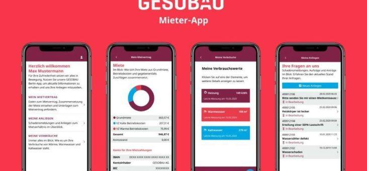 """Neue Mieter-App geht an den Start – """"GESOBAU Berlin"""" mit neuem Design und noch mehr Service"""