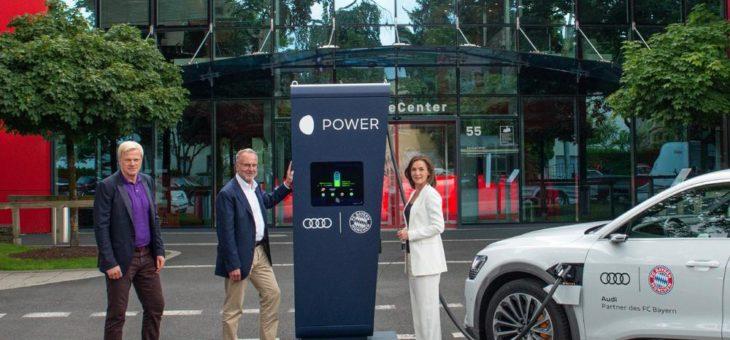 Startklar für den Audi e-tron: Audi stattet FC Bayern-Trainingsgelände mit Ladepunkten aus