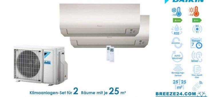 Klimaanlagen – Set von Daikin für 2 Zimmer mit bis zu je 25 m²