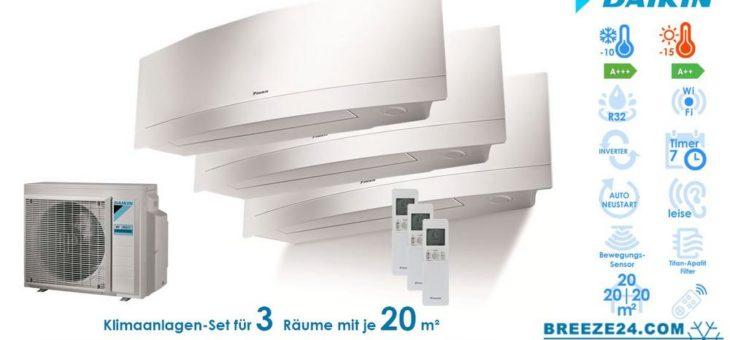 Klimaanlagen – Set von Daikin für 3 Zimmer mit bis zu je 20 m²