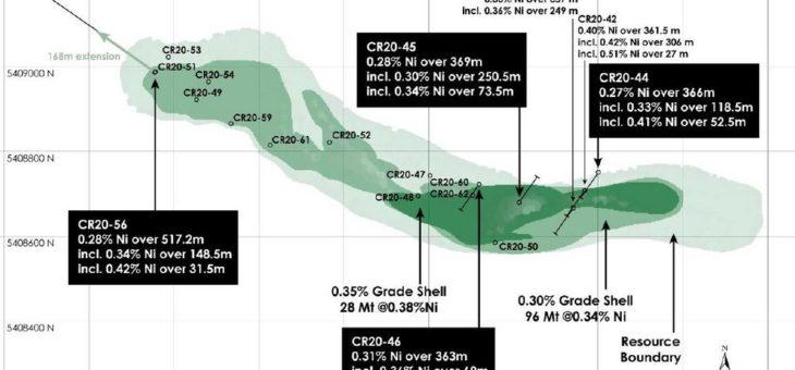 Infill-Bohrungen erweitern den höhergradigen Kern in Canada Nickels Nickel-Cobalt-Palladium-Projekt Crawford