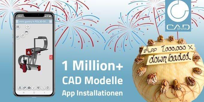 3D CAD Models Engineering App von CADENAS freut sich über 1 Million Installationen