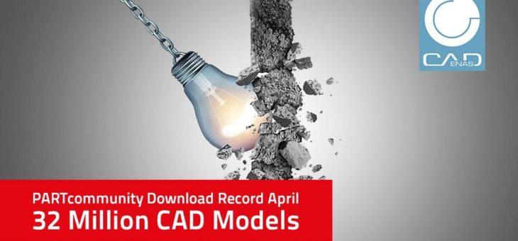 Neuer Rekord von 32 Mio. CAD Downloads reißt PARTcommunity Bestmarke vom Vormonat ein