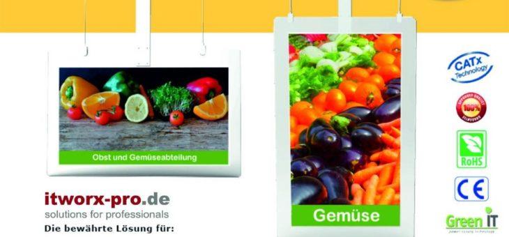 Digital Signage: itworx-pro GmbH ergänzt Portfolio mit digitalen Deckenhänger von LionDATA als Werbe- und Informations-Systeme