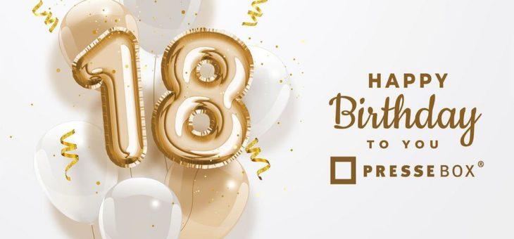 """Meilenstein """"Volljährigkeit"""": Die PresseBox feiert 18. Geburtstag!"""