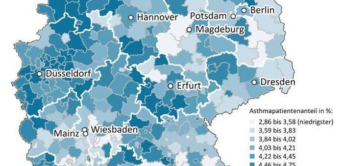 Gesundheitsatlas: 3,5 Millionen Menschen in Deutschland mit medikamentös behandeltem Asthma