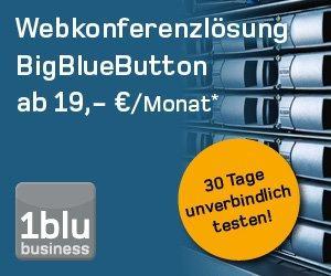 Sicheres Hosting für BigBlueButton-Webkonferenzlösungen bei der 1blu business GmbH für 19,- €/Monat*