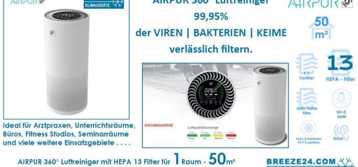 AIRPUR 360° Luftreiniger mit HEPA 13 Filter für 50 m² Fläche