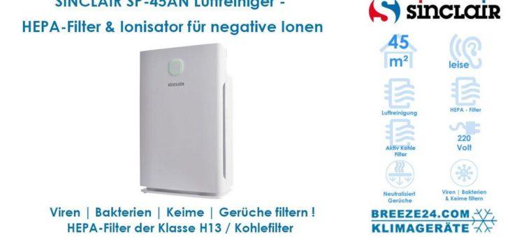 Luftreiniger SINCLAIR SP-45AN für 1 Zimmer mit 45 m² mit HEPA 13 Filter