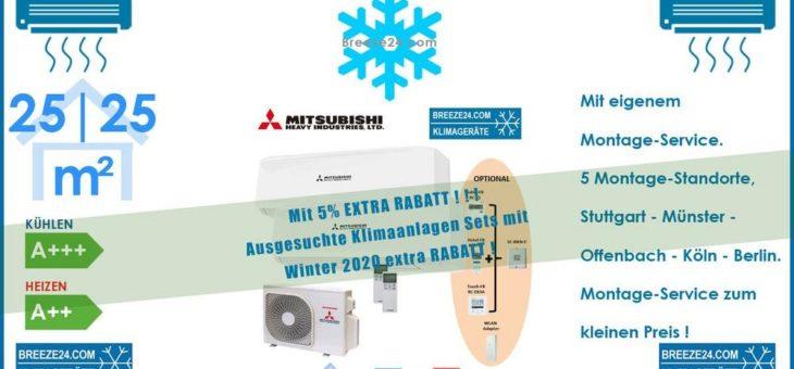 Mitsubishi Heavy Klimaanlage Wandgerät Set 2 x SRK 25 ZS-W + Außengerät SCM 40 ZS-W 2,5 kW R32 Set für 2 Zimmer mit je 25 | 25 m²