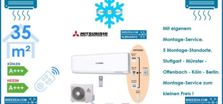 Mitsubishi Heavy Klimaanlage Wandgerät Set SRK 35 ZSX-W + SRC 35 ZSX-W R32 – 3,5 kW für 1 Zimmer mit 35 m² Fläche