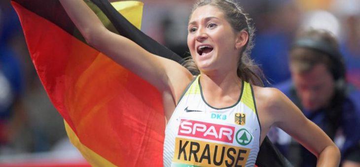 Gesa Felicitas Krause über die Mittelstrecke beim INDOOR MEETING Karlsruhe am Start