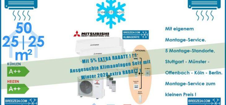 Mitsubishi Heavy Klimaanlage Wandgerät Set 2 x SRK 25 ZS-W + SRK 50 ZS-W + Außengerät SCM 71 ZS-W für 3 Zimmer mit je 25 | 25 | 50 m²