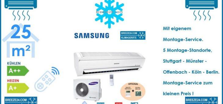 SAMSUNG Klimaanlage Wandgerät WindFree Exklusive 2,5 kW – AR 09 RXPXBWKN/EU + AR 09 RXPXBWKX/EU R32 Set für 1 Zimmer mit 25 m² Fläche