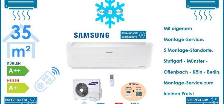 SAMSUNG Klimaanlage Wandgerät WindFree Excklusive 3,5 kW – AR 12 RXPXBWKN/Neu + AR 12 RXPXBWKX/Neu R32 Set für 1 Zimmer mit 35 m² Fläche