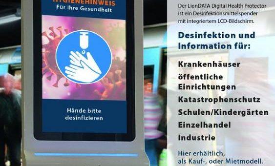 Digital Signage Lösung versus Covid-19: Die itworx-pro GmbH platziert LionDATA Digital Health Protector LDA-DHP-21 in Filialen einer Apothekenkette